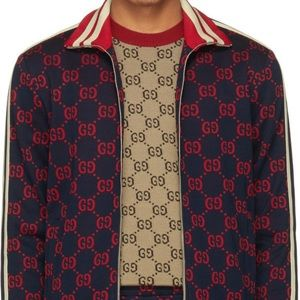 GUCCI NEW MEN'S CURRENT WEB GG DETAIL TRACK JACKET